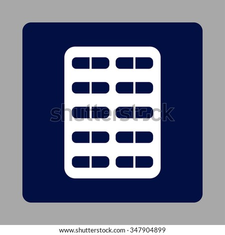 Pill Blister vector icon. Style is flat rounded square button, white and dark blue colors, silver background.