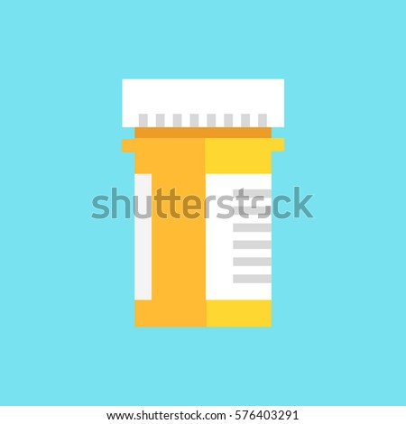 Pill Bottle flat icon. Prescription capsule drug logo. Vitamins Bottle icon. Tablets Bottle icon. Modern style logo vector illustration concept
