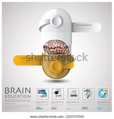 Pill Capsule Brain Education And Learning Infographic Design Template - stock vector