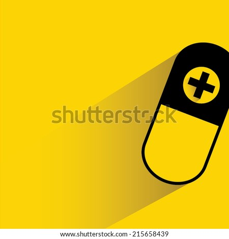 pill, capsule on yellow background - stock vector