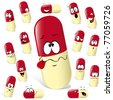 pill cartoon with many expressions isolated on white background - stock vector