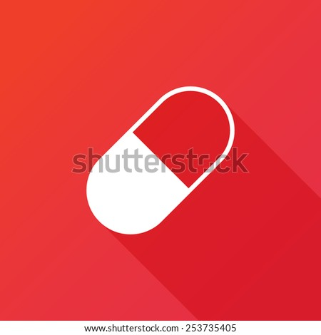 Pill icon. Flat design style modern vector illustration. Isolated on red color background. Flat long shadow icon. Elements in flat design - stock vector