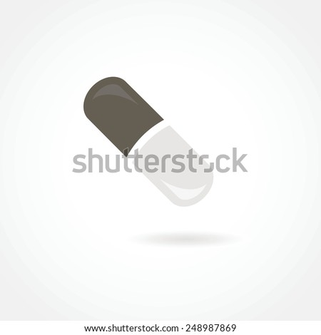 Pill icon in the air with shadow grey color illustration art - stock vector