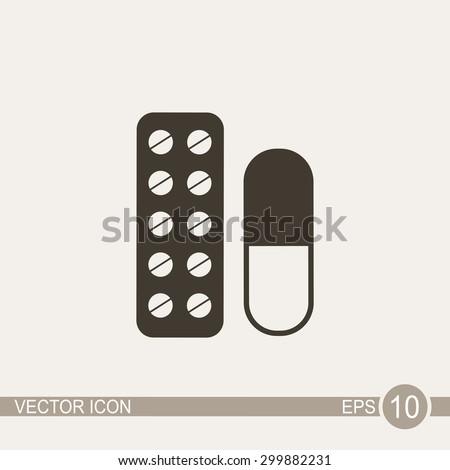 Pill vector icon. - stock vector