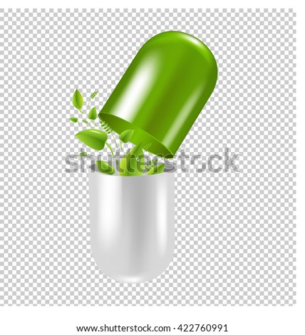Pill With Leaf, Isolated on Transparent Background, With Gradient Mesh, Vector Illustration - stock vector