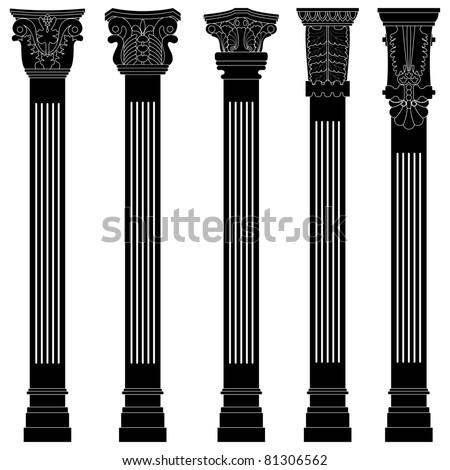 Pillar Column Antique Ancient Old Roman Greek Architecture Stock