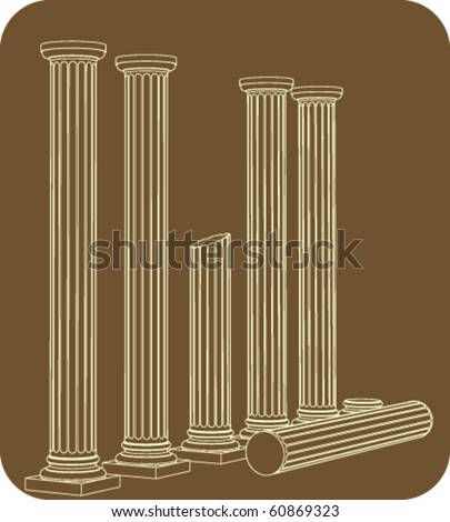 Pillars in the raw - colonnade, welded outline drawing - stock vector