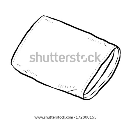 pillow / cartoon vector and illustration, black and white, hand drawn, sketch style, isolated on white background. - stock vector