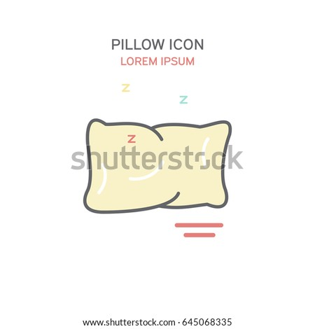 Pillow line style icon vector illustration in color