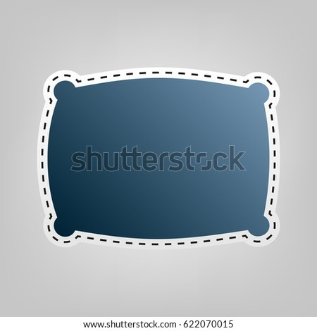 Pillow sign illustration. Vector. Blue icon with outline for cutting out at gray background.