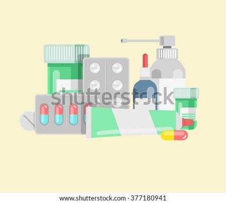 Pills against diseases vector set. Pills in your medicine chest. Pills bottles vector illustration. Aerosol cough. Pills, capsule, drugs against viruses. - stock vector