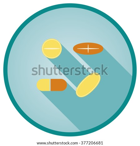 Pills and Capsule vector flat icon