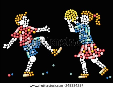 Pills and capsules, that form two playing children. Vector illustration on black background. - stock vector