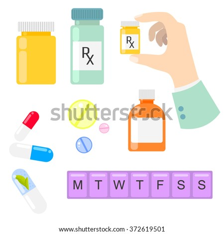 Pills and drug medicaments in flat style. Pills, capsules, bottles and weekly pill container. Medical recipe sign. - stock vector