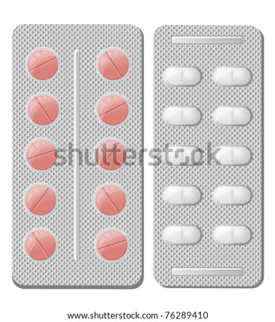 Pills and drugs isolated on white a a medicine concept. Jpeg version also available in gallery - stock vector