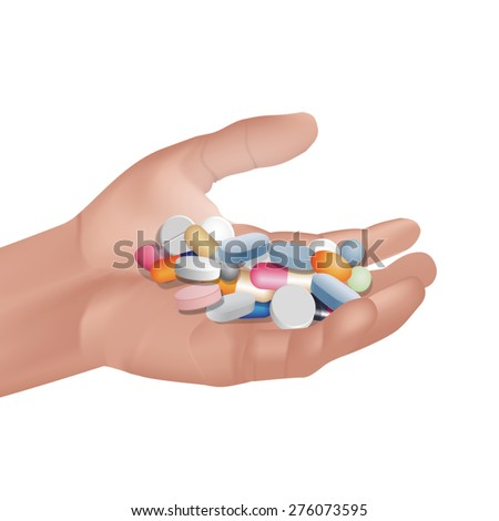 Pills and tablet on hand. Vector illustration - stock vector