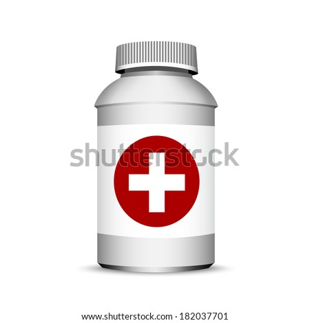 pills bottle isolated on white, 3d  - stock vector