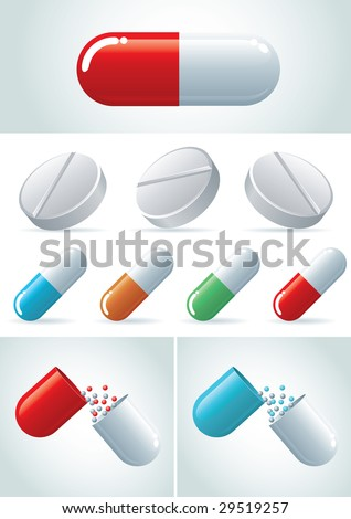Pills icon set. vector illustration icon set. Easy editable CMYK vector file. - stock vector