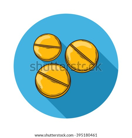 Pills icon.Vector Pills icon isolated with shadow.Hand draw Pills vector. - stock vector