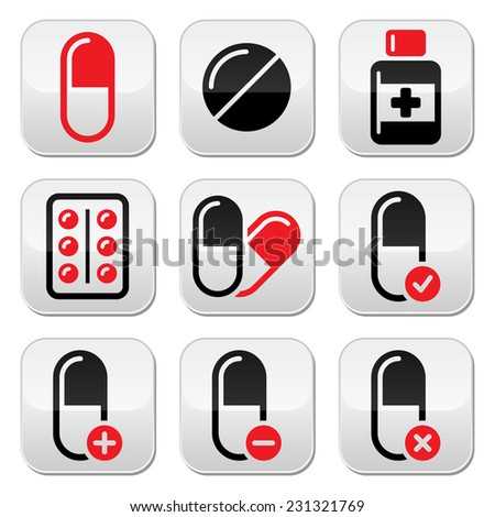 Pills, medication red and black vector icons set   - stock vector