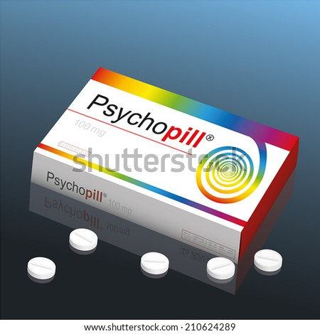 Pills named Psychopill with a colorful spiral as the brand logo on the cardboard packet. It's a medical fake product, which alludes to the handling with psychotropic drugs. Vector illustration. - stock vector