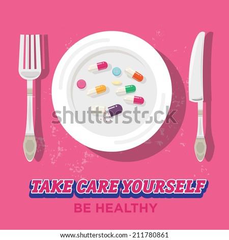 pills on plate. medicine. unhealthy - vector illustration - stock vector