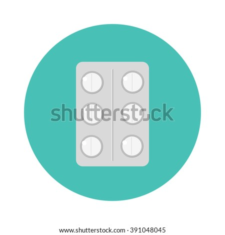 Pills pack blister icon of medication pills package and pills medicaments flat vector icon. Silver blister packs pills icon medical drugs cartoon flat vector illustration.  - stock vector