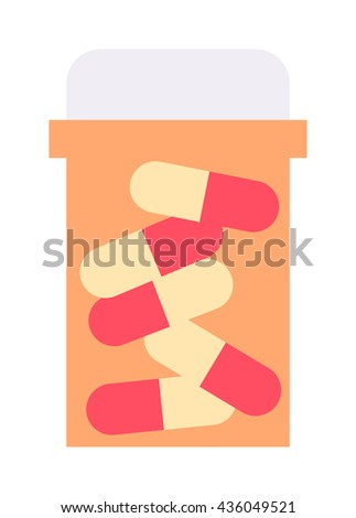 Pills spilling out pill bottle isolated. Pills isolated vector medical tablet and healthy vitamin antibiotic pills isolated. Pills isolated prescription pain care pharmaceutical - stock vector
