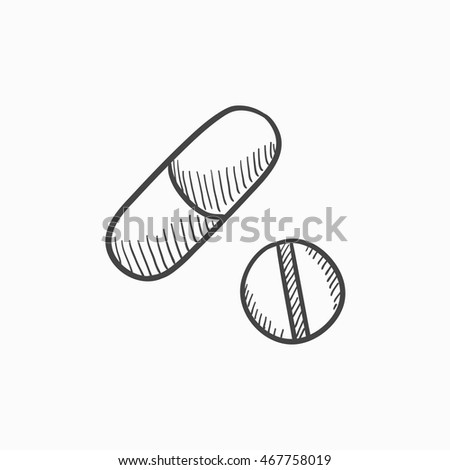 Pills vector sketch icon isolated on background. Hand drawn Pills icon. Pills sketch icon for infographic, website or app.
