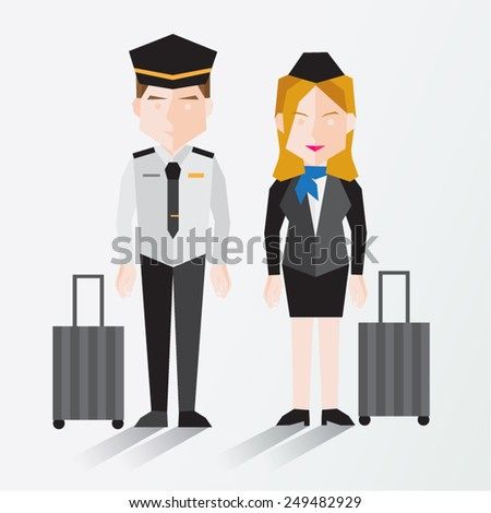 Pilot and Cabin Crew Vector Illustration - stock vector