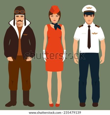 pilot and stewardess, airplane people, cartoon vector illustration  - stock vector