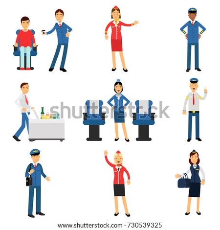 Pilot and stewardess at work during the flight set, airline working process vector Illustrations