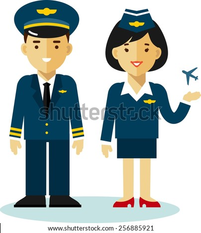 Pilot and stewardess in uniform with airplane in flat style - stock vector