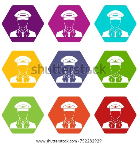 Pilot icon set many color hexahedron isolated on white vector illustration