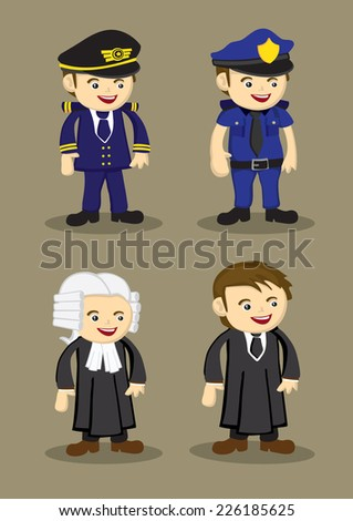 Pilot, Policeman, Judge and Lawyer in uniform and work attire. Professionals and occupations vector illustration isolated on brown plain background - stock vector