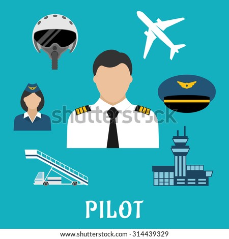 Pilot profession flat icons with captain in white uniform surrounded by stewardess, airplane, flight helmet, peaked cap, modern airport building and aircraft steps - stock vector