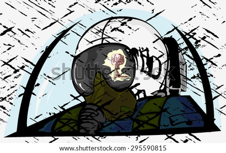 pilot with the reflection of nuclear explosion on a helmet. grunge vector - stock vector