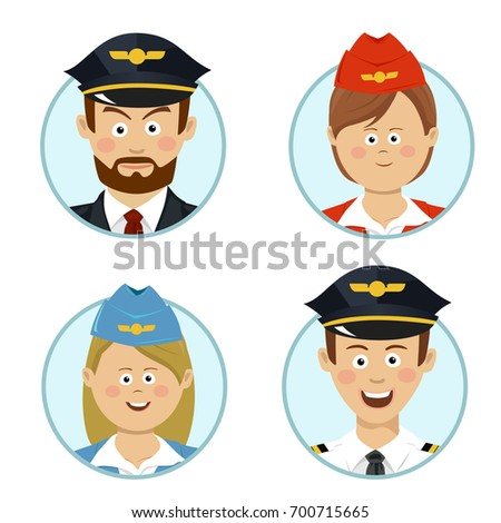 Pilots and air hostesses business professional people avatars sign flat icon