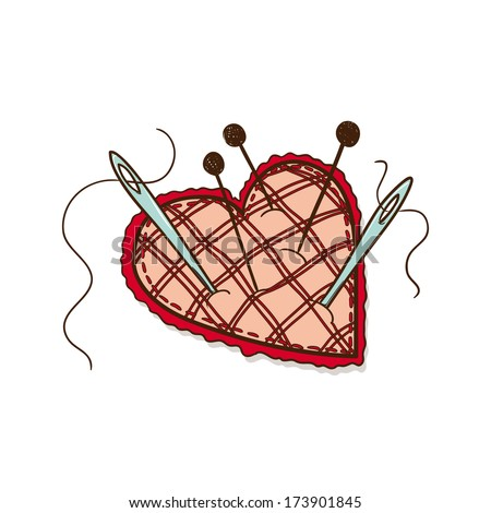 Pin cushion in a heart shape. Sketch vector element for romantic design - stock vector