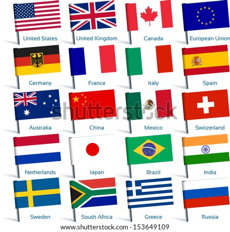 pin flags popular - stock vector