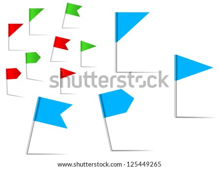 Pin flags set for navigation and location service. Jpeg version also available in gallery - stock vector
