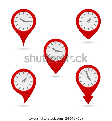 pin map marker with clock icon design - stock vector