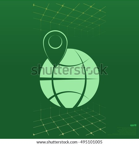 pin on globe icon vector illustration