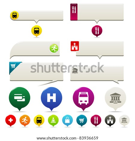 Pin points and Tool Tip set. Six tool tip styles and Pin Points with icons in several colors. - stock vector