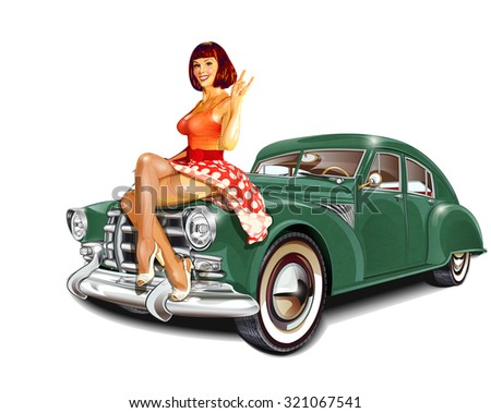 Pin-up girl and retro car isolated on white background - stock vector