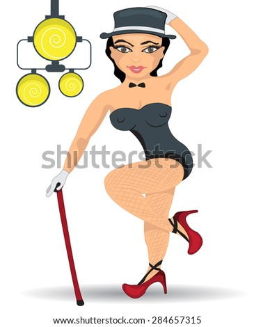 pin-up girl with a cylinder and a stick, in front of the spotlights. - stock vector