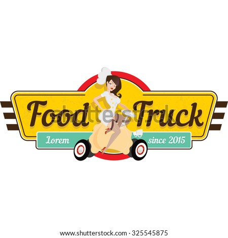 Pin-up logo with a cute girl for a food truck. - stock vector