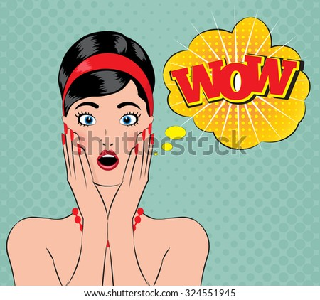 Pin-up style wow women with open mouth - stock vector