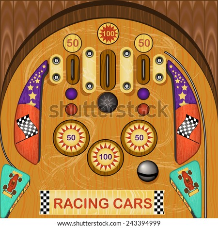 pinball icon - racing cars theme. - stock vector