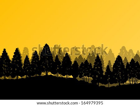 Pine and spruce tree forest silhouettes natural wild landscape detailed illustration background vector - stock vector